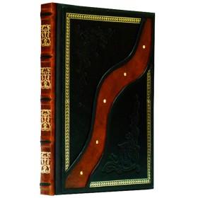 """Книга """"Кухня Секреты мастерства"""" в кожаном переплете ручной работы с рельефным цветным и глубоким блинтовым тиснением"""