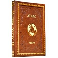 """Книга """"Большой атлас мира"""" в кожаном переплете ручной работы с рельефным цветным и глубоким блинтовым тиснением"""