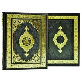 """Книга """"Священный Коран"""" в кожаном переплете ручной работы с рельефным цветным  и глубоким блинтовым тиснением в футляре"""