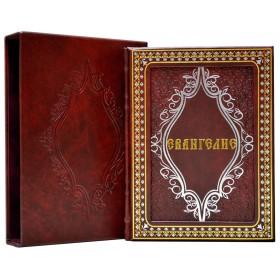 """Книга """"Евангелие"""" в кожаном переплете ручной работы с рельефным цветным  и глубоким блинтовым тиснением."""