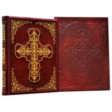 """Книга """"Православный молитвослов"""" в кожаном переплете ручной работы с рельефным цветным  и глубоким блинтовым тисненим в футляре"""