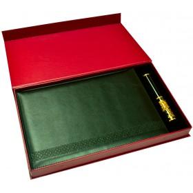 """Подарочный набор """"Бизнес"""": ежедневник  в кожаном переплете, металлическая ручка в футляре, подарочная коробка"""