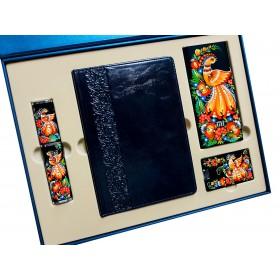 """Подарочный набор """"Премиум"""": ежедневник в кожаном переплете, металлическая ручка,  Power Bank Xiaomi в кожаном переплете, Flash-карта в кожаном исполнении, подарочная коробка"""